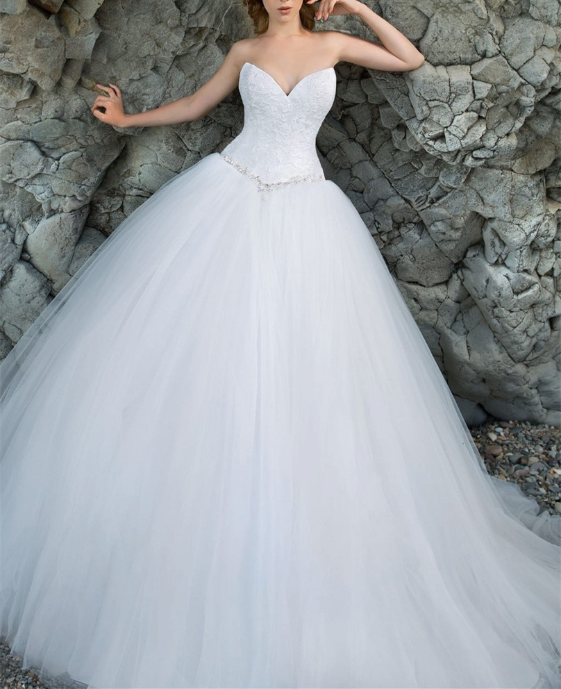 Lace Sweetheart Floor Length Tulle Wedding Gown Featuring Beaded Embellished Belt, Lace-Up Back and Train
