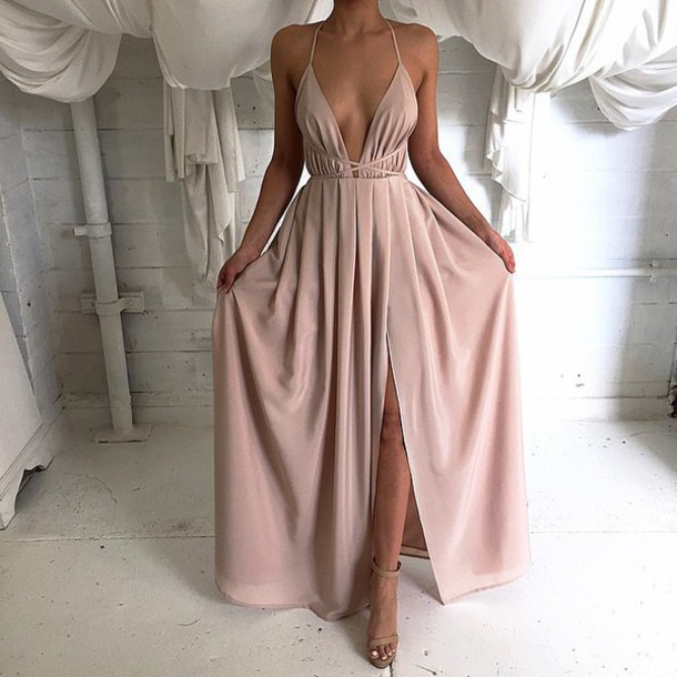 2018 Chiffon Prom Dresses , Deep V Neck Long Maxi Dress
