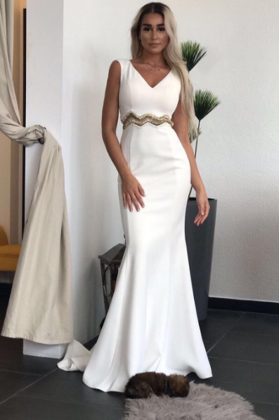 White mermaid v neck long prom dress, white evening dress