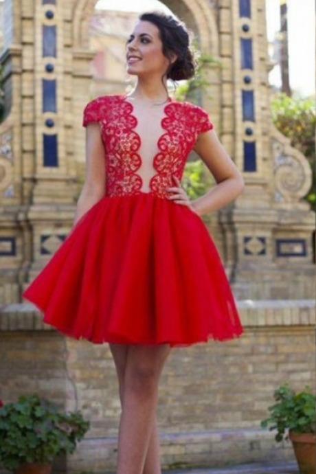 Custom Made Red Plunge Neck Lace Open Back Short Homecoming Dress