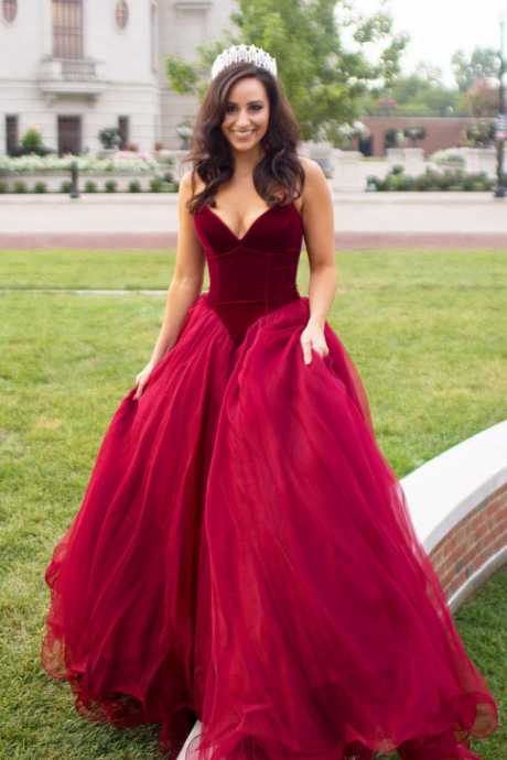 Wedding Dress,Wedding Dresses,Bridal Dresses,Wine red evening gown,ball gown,formal dress