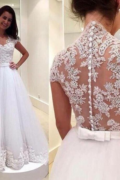 Custom Made White Queen Anne Neckline Lace A-Line Wedding Dress with Button Back Detailing