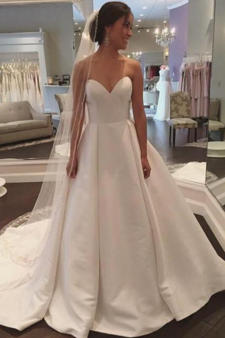 Satin Sweetheart Floor Length Wedding Gown Featuring Sweep Train