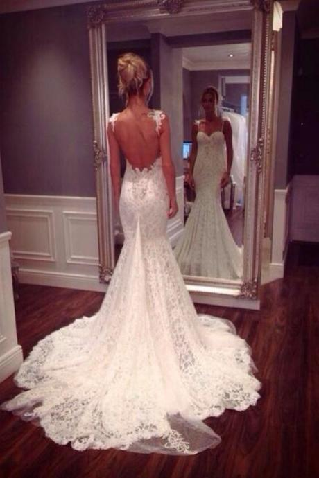 Lace Sweetheart Shoulder Straps Floor Length Mermaid Wedding Dress Featuring Open Back and Train