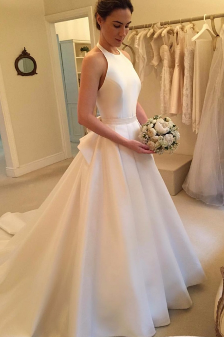 Satin Halter Neck Floor Length Wedding Gown Featuring Bow Accent Back and Train