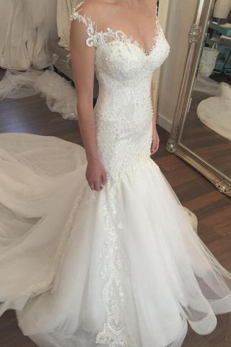 Lace Appliques and Beaded Embellished Plunge V Shoulder Straps Floor Length Tulle Mermaid Wedding Dress Featuring Train