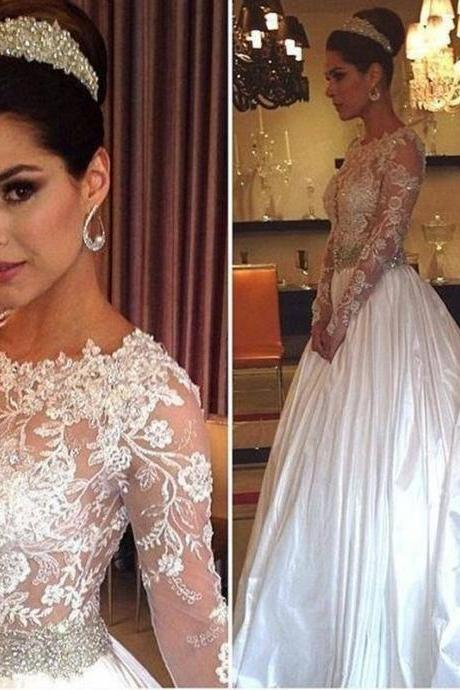 Sheer Lace Appliqués Beaded Ball Gown Wedding Dress with Long Train and Long Sleeves