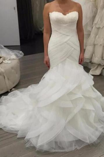 Tulle Sweetheart Floor Length Ruffled Mermaid Wedding Dress