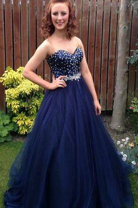 Charming dark blue formal dress,sweetheart neck long prom gown,formal dresses