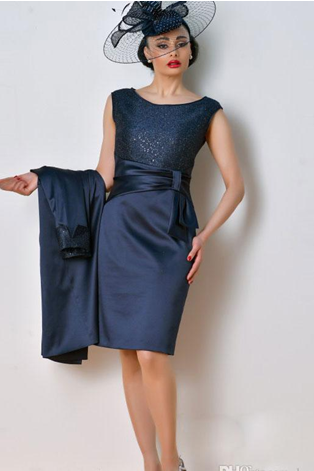 Dark Navy Knee Length Mother Of The Bride Suits Groom Gowns 2018 Fashion Free Hats Coat Sequined Satin Short Evening Party Dress
