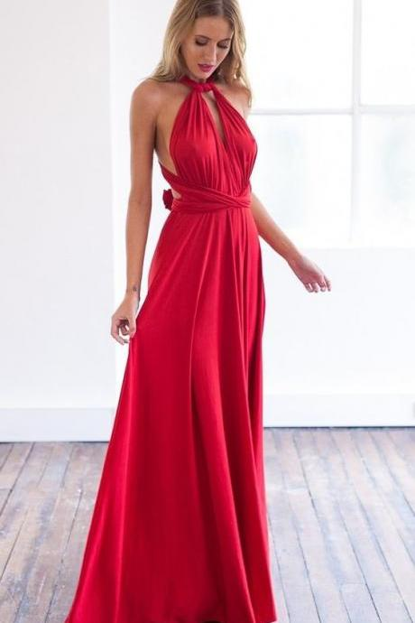 Dark Red Chiffon Maxi Dress , Prom Dress Long