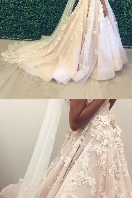 A-Line Spaghetti Straps Backless Court Train Pearl Pink Wedding Dress
