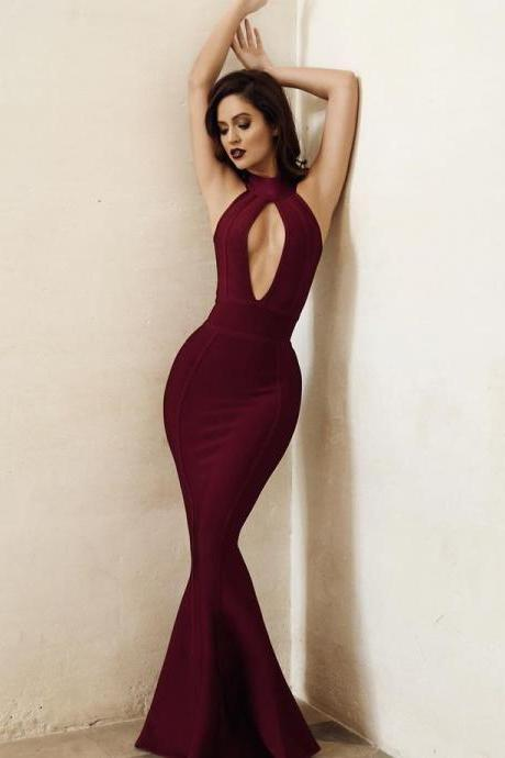 Burgundy Satin Prom Dresses Long Mermaid Evening Dresses Backless Formal Gowns Halter Party Dresses for Women
