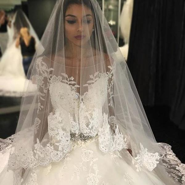 Wedding Dresses,Wedding Gown,Sexy Illusion Back Wedding Dresses,Long Sleeves Wedding Dresses,Lace Wedding Dresses,Ball Gown Wedding Dresses,Lace Ball Gown Wedding Dresses