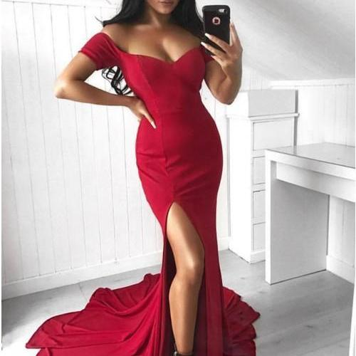 Off the Shoulder Wine Red Formal Occasion Dress with Split