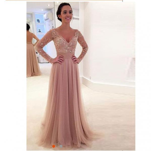 2018 Nude Tulle Long Sleeves V Neck Prom Dress With Sheer Back