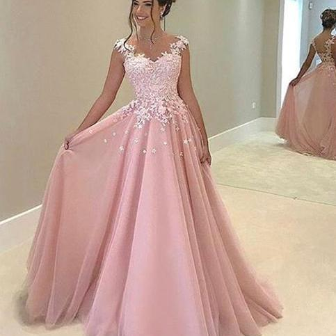 Pink Illusion Prom Gown, Cap Sleeve Prom Dress, A Line Formal Gown With Lace Appliques Top