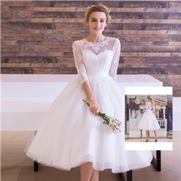 Cute Short White Lace Round Neck Half Sleeve See Through Tulle Wedding Dresses